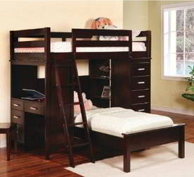 bunk bed with included desk